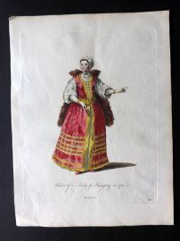 Jefferys C1760 Hand Col Costume Print. Habit of a Lady of Hungary in 1700